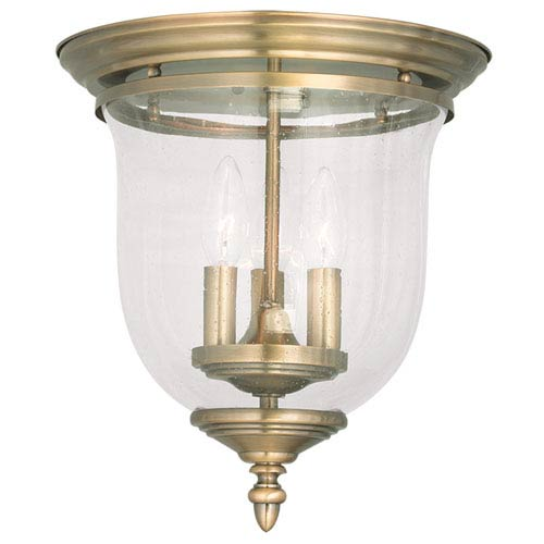 Livex Lighting Legacy Antique Hand Blown Brass Clear Seeded Glass Three Light Ceiling Mount