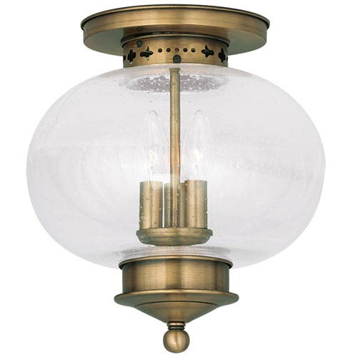 Livex Lighting Harbor Antique Brass Three Light Ceiling Mount