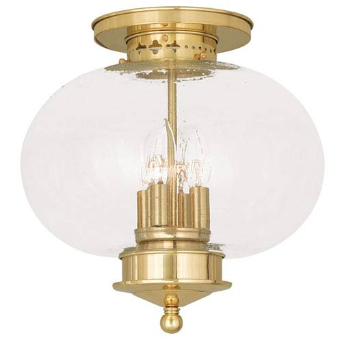 Harbor Polished Brass 13-Inch Four-Light Semi Flush Mount with Hand Blown Seeded Glass