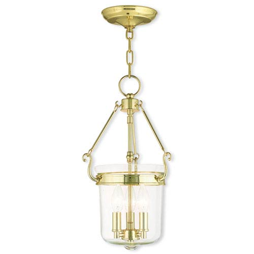 Rockford Polished Brass 10.5-Inch Three-Light Pendant