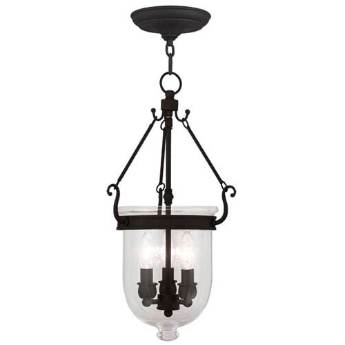 Jefferson Black Three Light Chain Hung Pendant with Clear Glass