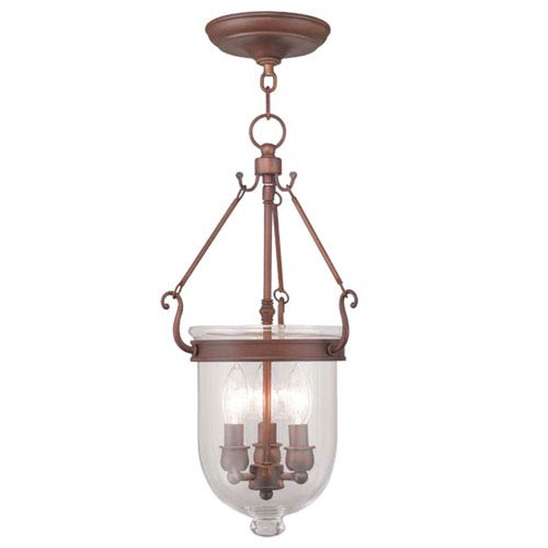 Livex Lighting Jefferson Vintage Bronze Three Light Chain Hung Pendant with Clear Glass