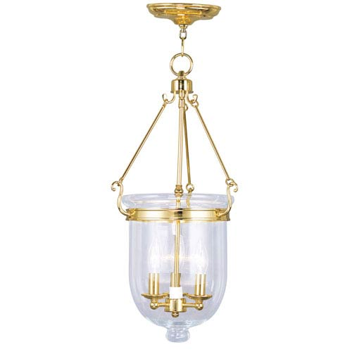 Livex Lighting Jefferson Polished Brass Three-Light Pendant