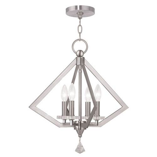 Diamond Brushed Nickel 18-Inch Four-Light Pendant