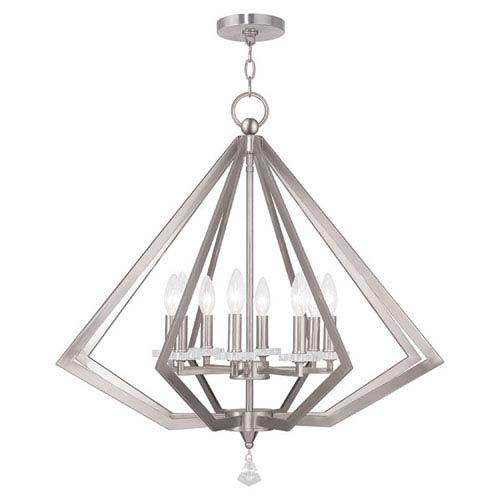 Diamond Brushed Nickel 28-Inch Eight-Light Pendant