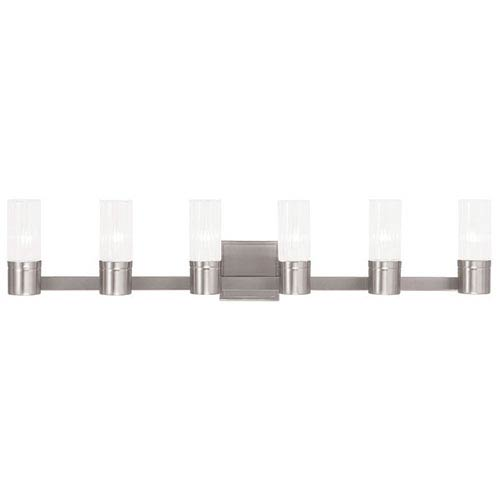 Midtown Brushed Nickel 35.5-Inch Six-Light Bath Light