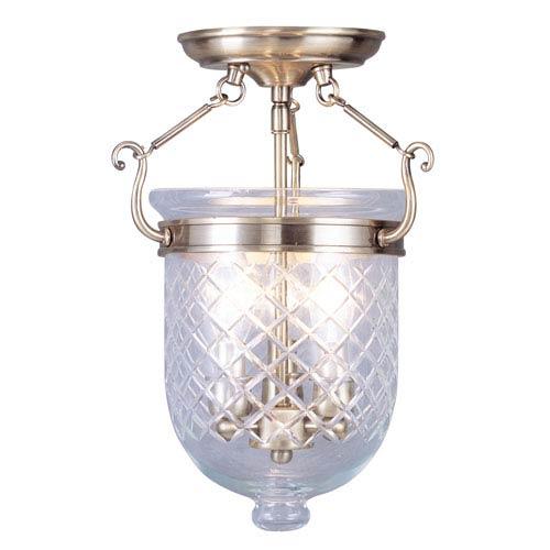 Jefferson Antique Brass Three-Light Semi-Flush