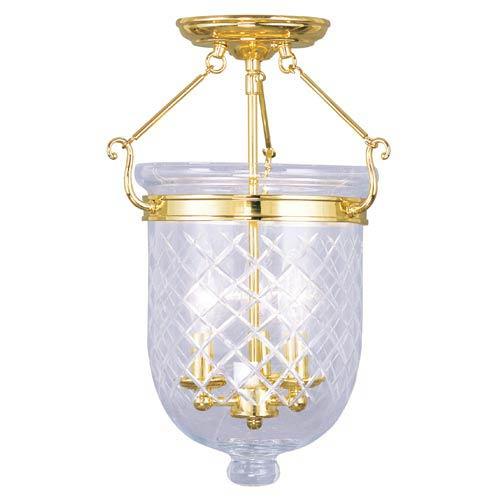 Jefferson Polished Brass Three-Light Semi-Flush