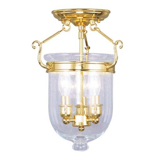 Livex Lighting Jefferson Polished Brass Three-Light Semi-Flush