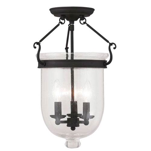 Jefferson Black Seeded Glass 17-Inch Three Light Ceiling Mount