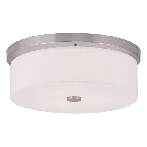 Meridian Brushed Nickel 15-Inch Three-Light Flush Mount