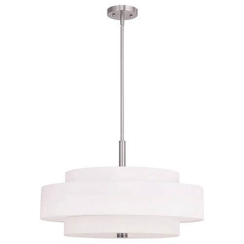 Meridian Brushed Nickel 24-Inch Five-Light Drum Pendant