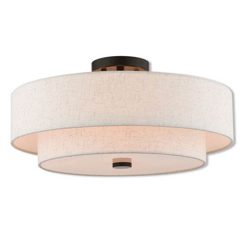 Claremont English Bronze 18-Inch Four-Light Ceiling Mount