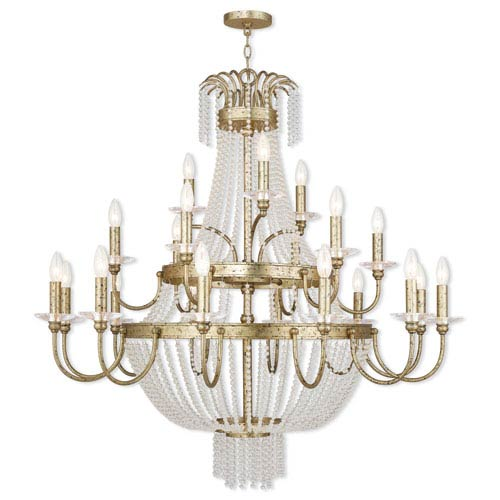 Livex Lighting Valentina Hand Applied Winter Gold 42-Inch 21-Light Foyer Chandelier