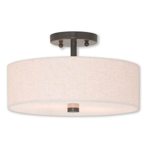 Meridian English Bronze Two-Light 13-Inch Ceiling Mount
