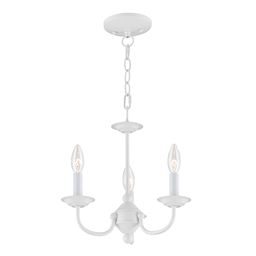 Home Basics White Three-Light Mini Chandelier