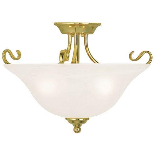 Coronado Polished Brass 19-Inch Three-Light Semi Flush Mount