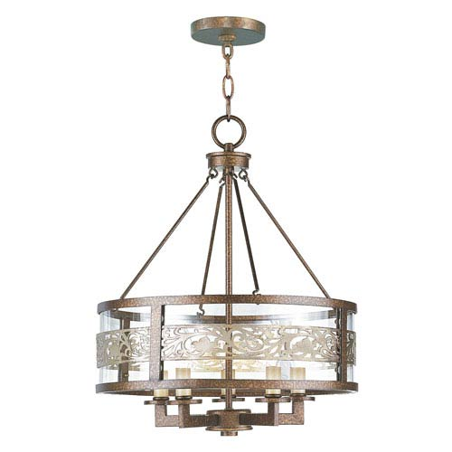 Waverly Palacial Bronze with Gilded Accents Five-Light Pendant
