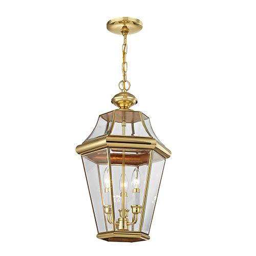 Georgetown Polished Brass Three-Light Outdoor Pendant
