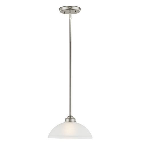 Somerset Brushed Nickel One-Light 11-Inch Pendant with Satin Glass