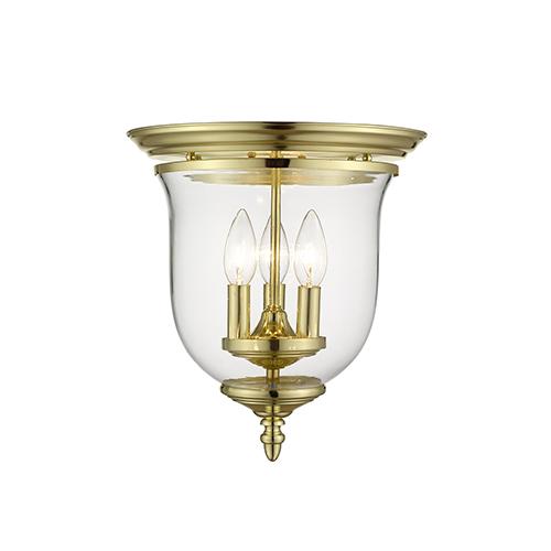 Legacy Polished Brass Three-Light Semi Flush Mount