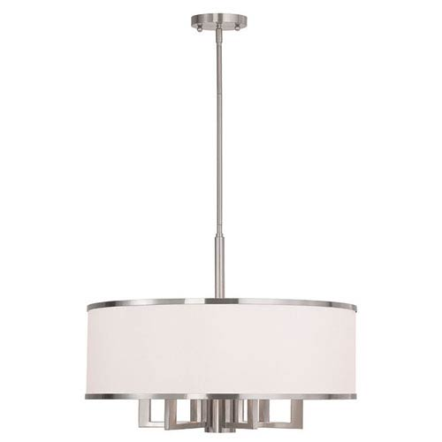 Park Ridge Brushed Nickel 24-Inch Six-Light Drum Pendant