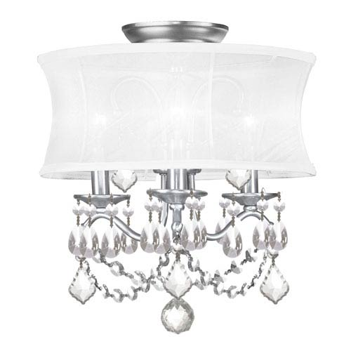 Newcastle Brushed Nickel Three-Light Convertible Semi-Flush