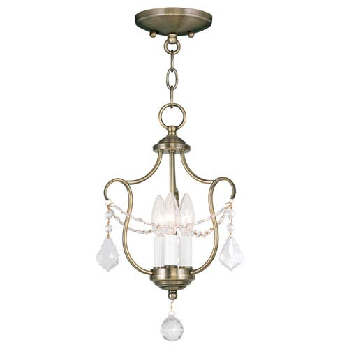Livex Lighting Chesterfield Antique Brass Three Light Convertible Chain Hang and Ceiling Mount