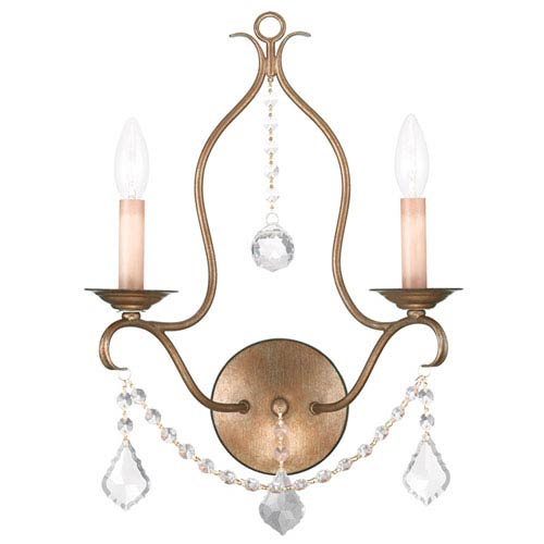 Livex Lighting Chesterfield Antique Gold Leaf Two Light Wall Sconce