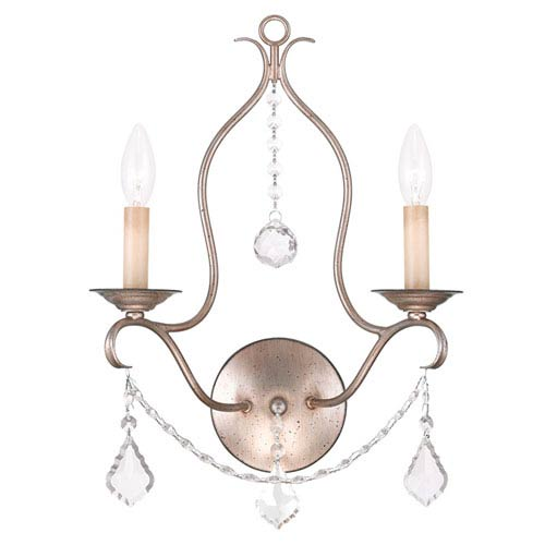 Livex Lighting Chesterfield Antique Silver Leaf Two Light Wall Sconce
