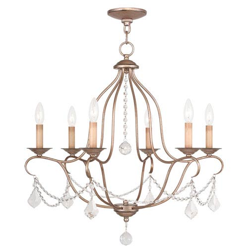 Livex Lighting Chesterfield Antique Silver Leaf Six Light Chandelier