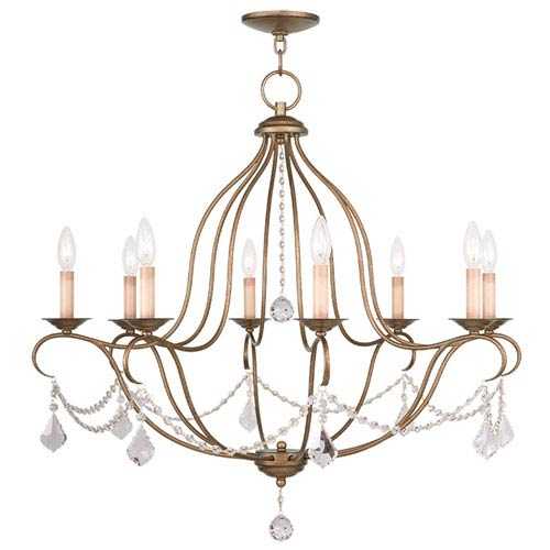Livex Lighting Chesterfield Antique Gold Leaf Eight Light Chandelier