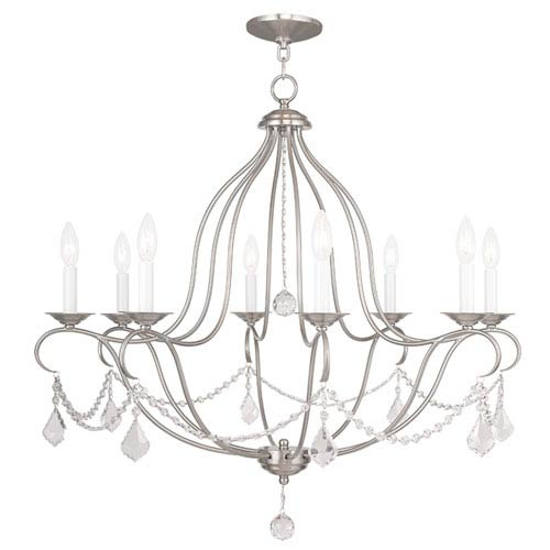 Chesterfield Brushed Nickel Eight Light Chandelier