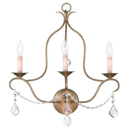 Livex Lighting Chesterfield Antique Gold Leaf Three Light Wall Sconce