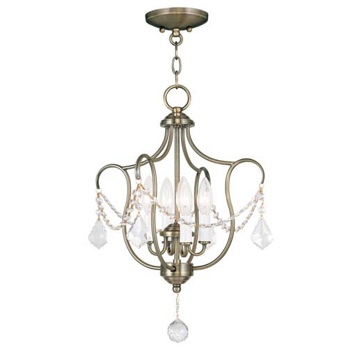 Livex Lighting Chesterfield Antique Brass Four Light Convertible Chain Hang and Ceiling Mount