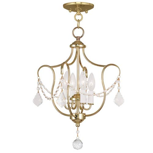 Livex Lighting Chesterfield Polished Brass Four Light Convertible Chain Hang and Ceiling Mount