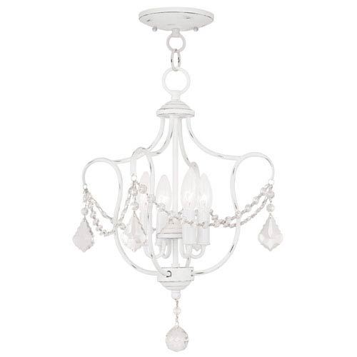 Livex Lighting Chesterfield Antique White Four Light Convertible Chain Hang and Ceiling Mount