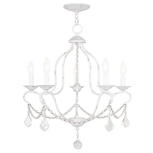 Livex Lighting Chesterfield Antique White Five Light Chandelier