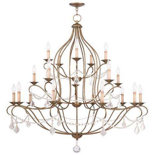 Livex Lighting Chesterfield Antique Gold Leaf 20 Light Chandelier