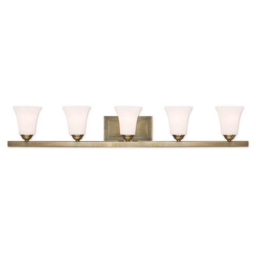 Ridgedale Antique Brass 43-Inch Five-Light Bath Vanity