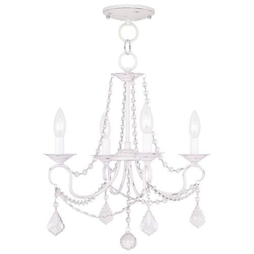 Livex Lighting Pennington Antique White Four Light Convertible Chain Hang and Ceiling Mount