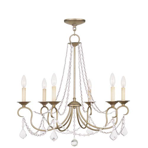 Pennington Antique Silver Leaf Six Light Chandelier