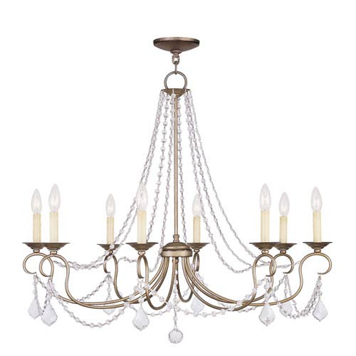 Livex Lighting Pennington Antique Silver Leaf Eight Light Chandelier