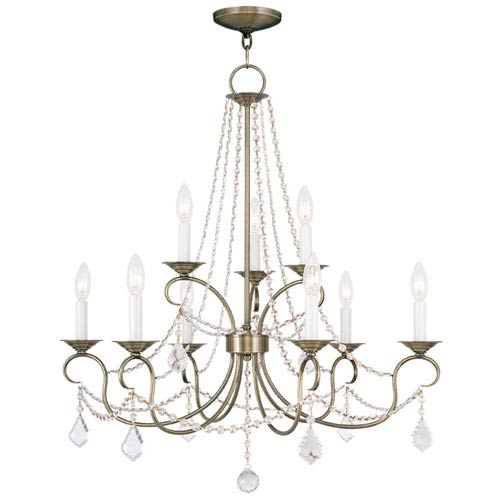 Livex Lighting Pennington Antique Brass Nine Light Chandelier