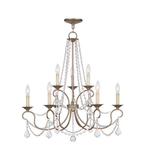 Livex Lighting Pennington Antique Silver Leaf Six Light Chandelier