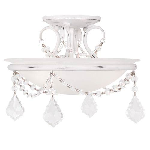 Livex Lighting Pennington Antique White Two Light Ceiling Mount