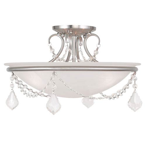 Livex Lighting Pennington Brushed Nickel 10-Inch Three Light Ceiling Mount