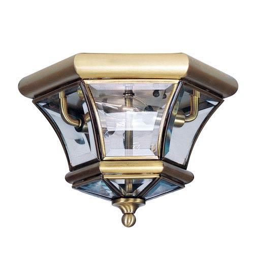 Antique Brass Outdoor Flush Ceiling Light