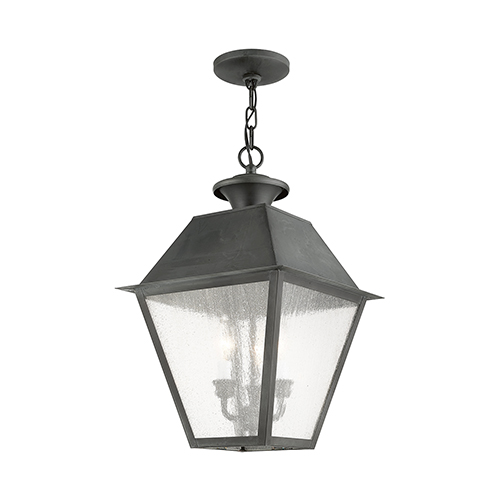 Livex Lighting Mansfield Charcoal Three-Light Outdoor Chain Hang