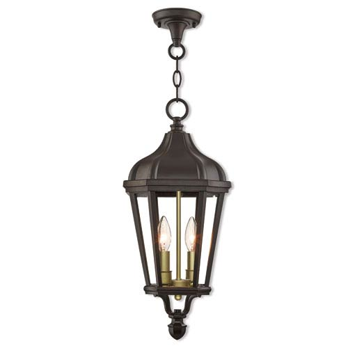 Livex Lighting Morgan Bronze 9-Inch Two-Light Outdoor Pendant Lantern